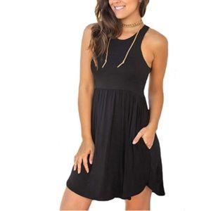 Women's Sleeveless Loose Plain Dresses Casual